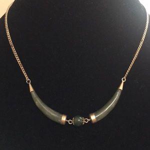 Jade horn necklace with extra bracelet